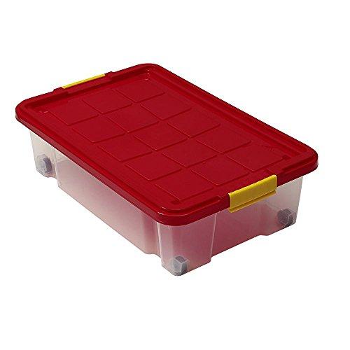 6 Stück AXENTIA Unterbettkommode mit Rollen, Unterbettroller, Unterbettbox, Aufbewahrungsbox, 60 x 40 x 18 cm, 28 Liter