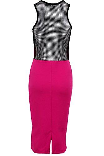 Saphir Damen Celeb Inspiriert Nicole Fisch Net Kontrast Racer bodyocn Damen Midi Kleid Rosa - Magenta