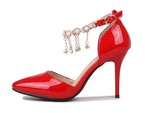UH Femmes Escarpins Bride Cheville de Boucle avec Strass Vernis Bout Pointu Elegantes et Sexy à Talons Moyen Aiguille Rouge