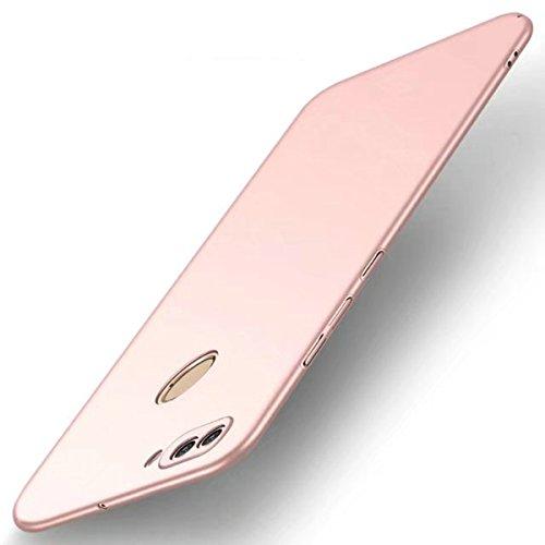 Funda Huawei P SMART, TIANQIN Ultra-Delgado Carcasa Protectora Ultra Ligera PC Plástico Duro Case Anti-Rasguños Parachoque Estilo Simple para Huawei P SMART Estuche - Oro rosa
