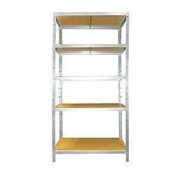 versando VLR5X175 Lagerregal/Steckregal verzinkt 178 x 90 x 40 cm, 5 Fachböden-max. 875 KG Traglast-ideal für Keller/Garagen-Regal für schnelleren Zusammenbau
