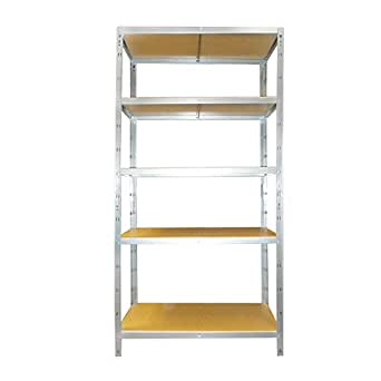 Étagère meuble de rangement - à 5 tablettes - 178 x 90 x 40 cm - en acier et bois - 175 kg par niveau