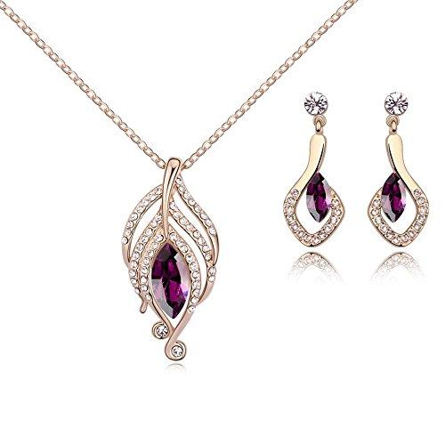 Crystals from Swarovski Simulierter Amethyst Schmuck-Set Halskette Anhänger 45 cm Ohrringe 18 kt Rose Vergoldet für Damen
