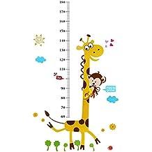 Con forma de mono de el pisado sobre salientes angostos de adhesivo de texto en inglés y diseño de jirafa de niños de crecimiento de altura del diseño con la escala de pared con diseño de medición para bolos de pared con diseño de figura decorativa y calcomanías para