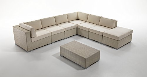 Maison garden design divano modulare habana design italiano in polyrattan di altissima qualità, colore bianco wash. completo di cuscini