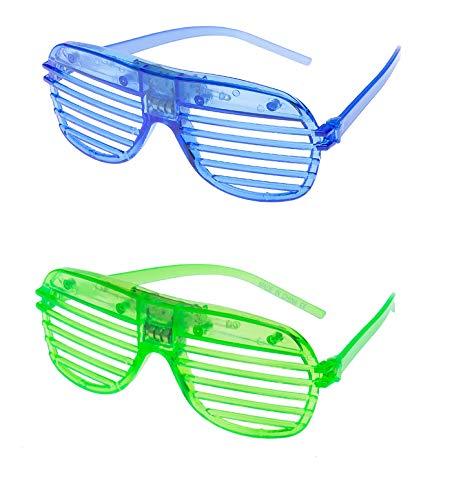 UltraByEasyPeasyStore 2 Blau Blinkenden LED-Shutter-Stil-Gläsern Glow Slotted Plastic Leuchten Shades Eyewear Sonnenbrillen für Musikkonzerte Crazy Parties Halloween Christmas Rave