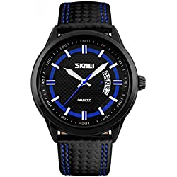 Skmei Herren sk9116C Wasserdichte Sport Business Analog Quarz Leder Strap Armbanduhr Blau