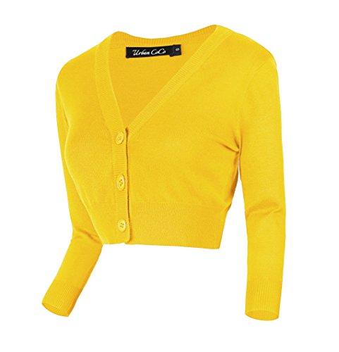 usschnitt Kurz-Strickweste Strickjacke 3/4 Ärmel (XL, Zitronen gelb) ()