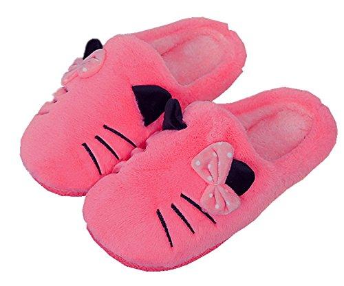 Hausschuhe Damen Plüsch Winter Indoor Pantoffeln Wärme Weiche Leicht Cartoon Katze Plüsch Slippers für Herren und Damen