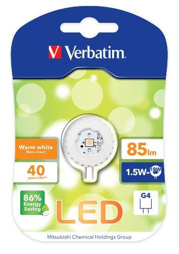 Verbatim LED BI Pin G4 Round 1,5 W 12 V AC/DC 2700 K WW 85l m 40.000h 52145
