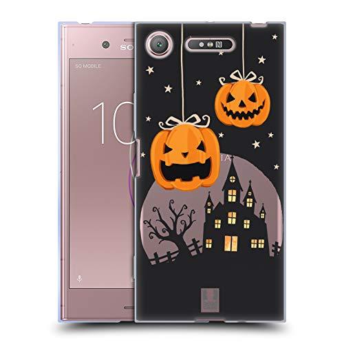 Head Case Designs Kürbise Und EIN Schloß Halloween Figuren Soft Gel Hülle für Sony Xperia XZ1 / Dual