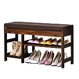 Yisaesa Schuhregal Flur Retro Farbe Schuhe Hocker Einfache Haushalt Schuh Einfache Moderne Massivholz Lagerung Hocker Regal Zubehör (Größe: 84 cm) (Farbe : -, Größe : 84cm)
