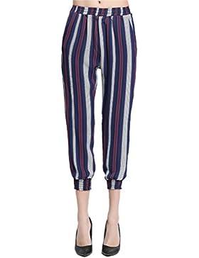Pantalones Mujer Verano Elegantes Cintura Elástica Moda Casual Cómodos Anchos Rayas Pantalon Pantalones Bombachos
