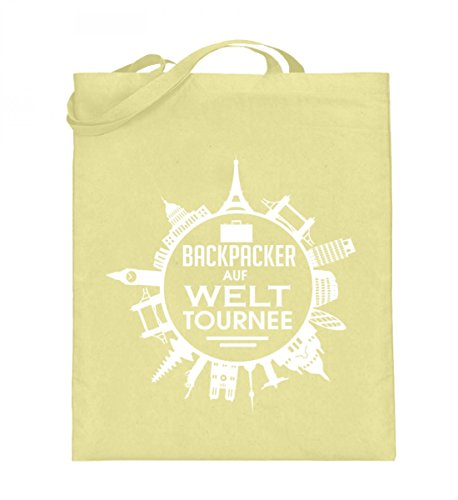 Hochwertiger Jutebeutel (mit langen Henkeln) - Backpacker auf Welttournee Zinkgelb
