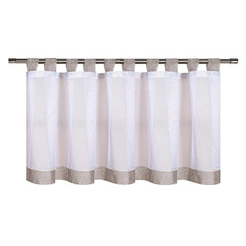 Nala tendina / pannello / cortina semitrasparente, con cordino, per bistro, l x h:150x 50cm. tendina per bistro, qualità semitrasparente, bianco con tocco colorato. grigio chiaro