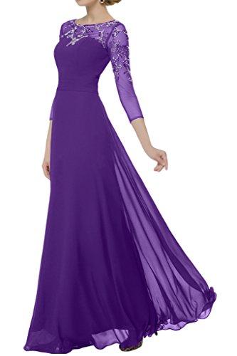 Promgirl House Damen Zarte Chiffon A-Linie Abendkleider Ballkleider Brautmutterkleider Lang mit Aaermel Lila
