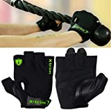 #7: XTRIM Men's Suede Leather and Anti microbial Polyester Spandex Mesh Double Stitched Gym Gloves