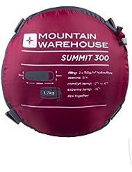 Mountain Warehouse Sacco a pelo Summit 300 - Con Imbottitura Isolante e Adatto a Temperature Fredde Rosso Left Handed Zip