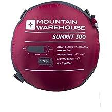 Mountain Warehouse Saco de dormir Summit 300 - 23 x 41 cm - Cómodo, saco de dormir cálido, saco de acampada tipo momia, cremalleras bidireccionales - Para niños y adultos Rojo Zip Izquierda