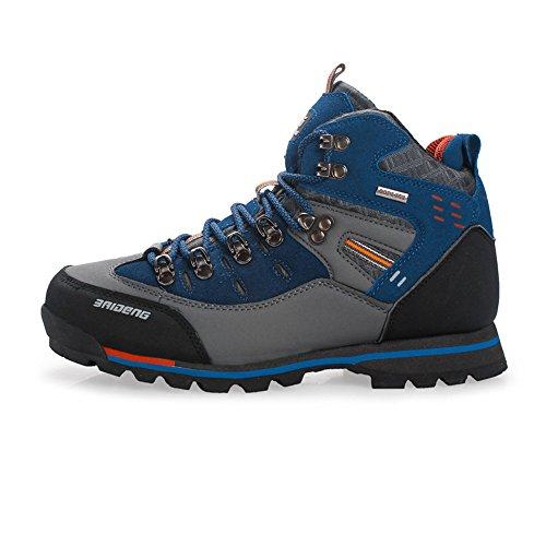 SANANG Pelle esterna impermeabile Hiking Boots autunno Uomini Sport invernali Trekking alpinismo Stivali (40 EU, Blu)