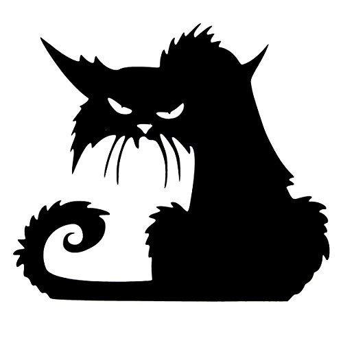 �ngstigend Schwarze Katze Glas Aufkleber Halloween Dekor ()