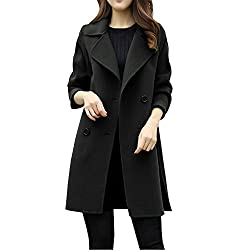 HWTOP Trenchcoat Winter Mantel Damen Langer Elegant Wollmantel Revers Parka Jacke Cardigan Winterjacke Wolljacke Wintermantel Übergangs Jacke Windbreaker Langarmshirt Pelzkragen Freizeitjacke Outwear