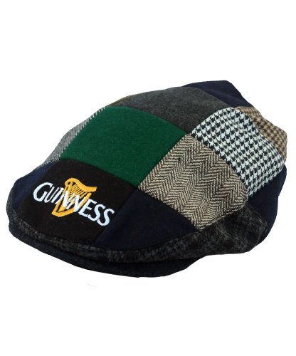 guinness-official-merchandise-harp-embroidered-flat-cap-mens-hat-black-grey-cream-medium