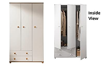 Aspen Ivory Oak 3 door 2 drawer Wardrobe Full hang 3rd door H178xW100xD49cm - low-cost UK light shop.