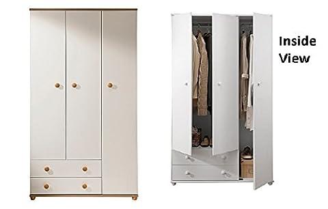 Aspen Ivory Oak 3 door 2 drawer Wardrobe Full hang 3rd door H178xW100xD49cm
