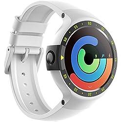 Ticwatch Reloj Inteligente S Glacier, Pantalla OLED DE 1,4 Pulgadas, Compatible con iOS y Android, Android Wear 2.0, tu compañero para el Deporte