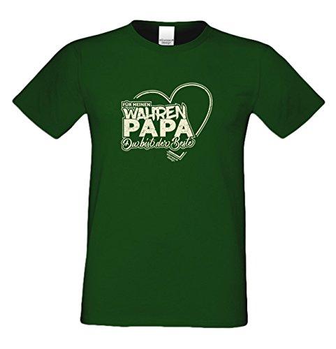 Vater, Vatertag, Vatertagsgeschenk T-Shirt Funshirt Für meinen wahren Papa Geschenkidee, Geschenkset, auch in Übergröße Farbe: dunkelgrün Dunkelgrün