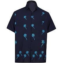 *La Leela**** Manches Courtes Aloha Bouton Coupe Décontractée Chemise Brodée Bas Délicats XS Noir des Hommes - 5XL