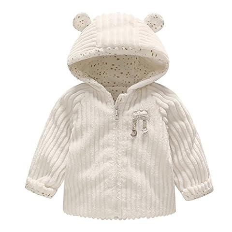 Vine Bébé Veste Polaire Hiver Manteaux à Capuche Blousons Tenues d'hiver Vêtements de Enfant, Blanc 6-9 Mois