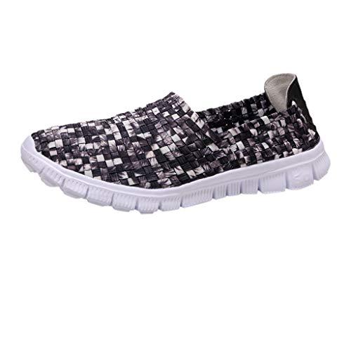 YEARNLY Paar Modelle Handgewebte Schuhe Atmungsaktiv Casual Schuhe Elastischer Gürtel Faule Schuhe Grau, Schwarz, Tarnung, Mehrfarben 35-44 (Schuhe Sketcher Womans)