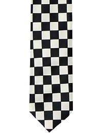 Skinny Tie (Tie53)- Men's Black and White Check Skinny Tie