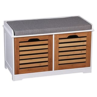 ASPECT Kendal 2 Seater Wooden Storage Bench With Seat Cushion, White Frame/Bamboo Drawers/Grey Cushion