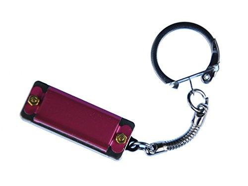 Mini Mundharmonika Schlüsselanhänger Miniblings Anhänger Spielbar Metall Rot