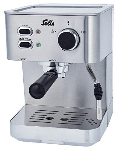 Solis Siebträger-Espressomaschine für gemahlenen Kaffee oder Softpads, Heißdampfdüse, 15 Bar, 1,5 l Wassertank, Edelstahl, Primaroma