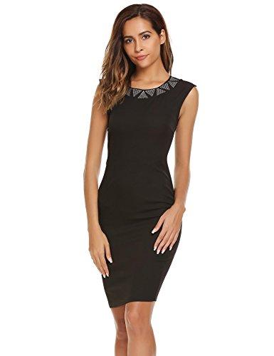 Damen Figurbetontes Etuikleid Rundhals mit Diamant Business Kleid Bodycon Festliches Kleid Cocktailkleid Partykleid Ärmellos Mini PAT3