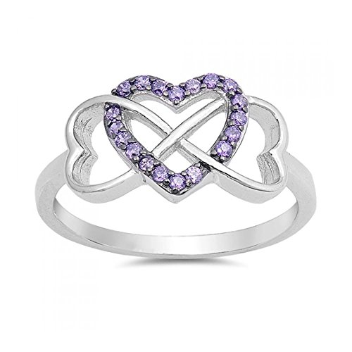 Sterling Silver Corazones Infinity Cubic...
