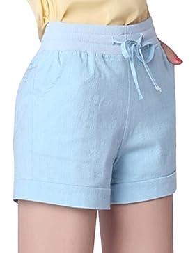 Sidiou Group Pantaloni casual in lino cotone estivo donna Pantaloncini sportivi sottili Pantaloncini in vita elastici...
