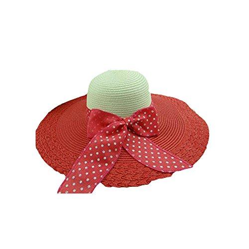 Surker Femmes Anti-Sun Grand Brim Plage Hat Sun Hat Past¨¨que rouge et cr¨¨me