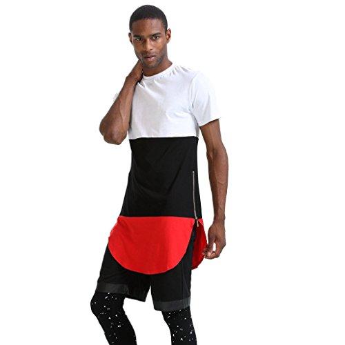 Pizoff Unisex Hip Hop Langes T-Shirt mit Medusa Druckmuster und Reißverschluss P3219