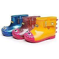 Toddler Wellington Boots Children Cartoon Rubber Waterproof Cute Dinosaur Printed Easy-On for Unisex Kids