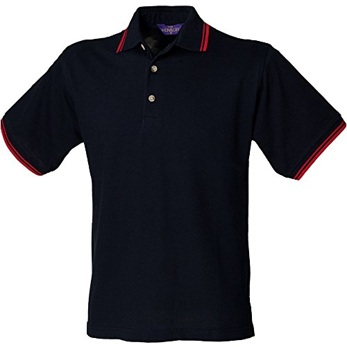 Henbury con polsini e colletto Polo Navy Red tipping