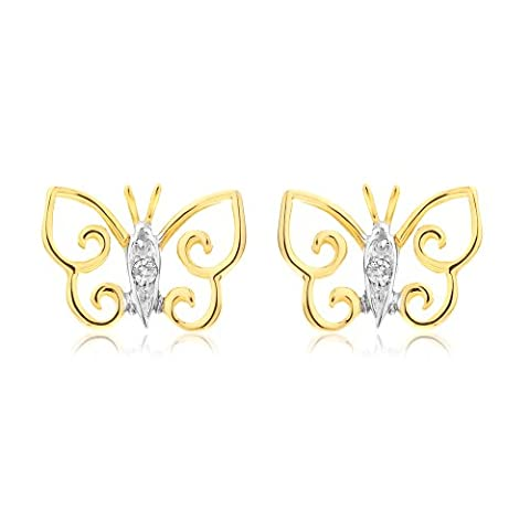 Ornami Glamour 9CT Yellow Gold Diamond Set Open Butterfly Stud