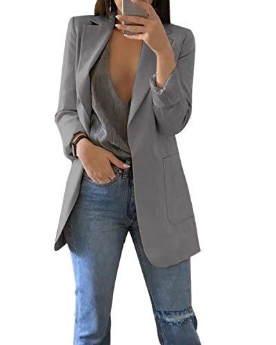 MINTLIMIT Damen Blazer Cardigan Dünn Geraffte Ärmel Elegant Bolero Business Jacke Blazer Slim Fit Anzug Trenchcoat Sakko Einfarbig Grau#1851 L
