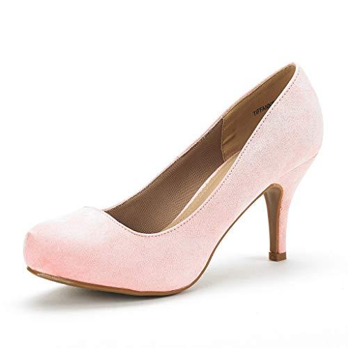 Dream Pairs Tiffany Zapatos de Tacón Vestir Pump para Mujer Rosa Ante 40.5 EU/9.5 US