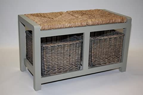 Grey Storage Bench with 2 Wicker Baskets - Hall Seating
