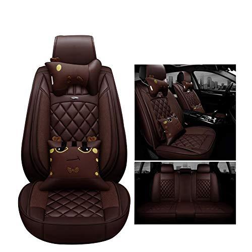 Preisvergleich Produktbild YU-ZY0 Leder Cartoon Autositzbezug Kompatibel mit Ford-Serie, Braun, Focus